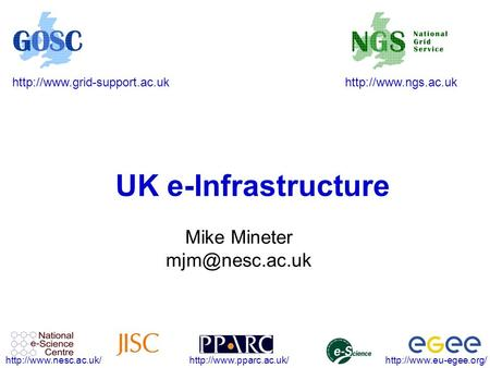 UK e-Infrastructure Mike Mineter.