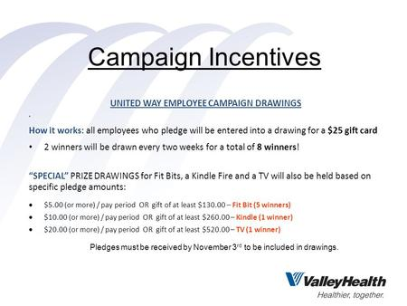Campaign Incentives UNITED WAY EMPLOYEE CAMPAIGN DRAWINGS How it works: all employees who pledge will be entered into a drawing for a $25 gift card 2 winners.