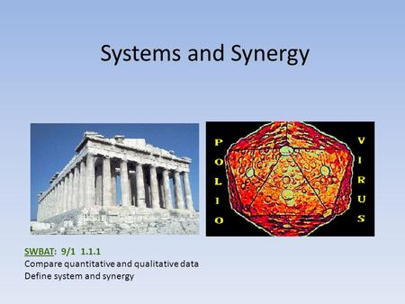 Systems and Synergy SWBAT: 9/1 1.1.1 Compare quantitative and qualitative data Define system and synergy.