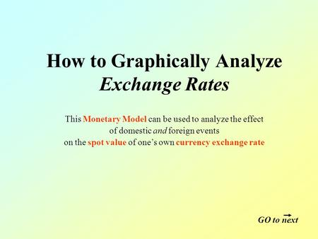 How to Graphically Analyze Exchange Rates This Monetary Model can be used to analyze the effect of domestic and foreign events on the spot value of one's.