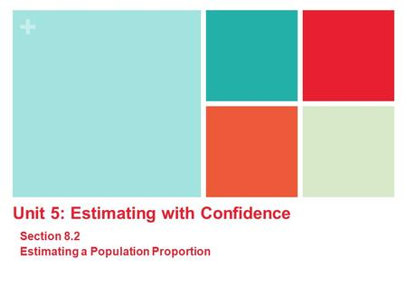 + Unit 5: Estimating with Confidence Section 8.2 Estimating a Population Proportion.