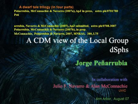 A CDM view of the Local Group dSphs Jorge Peñarrubia In collaboration with Julio F. Navarro & Alan McConnachie Jorge Peñarrubia In collaboration with Julio.