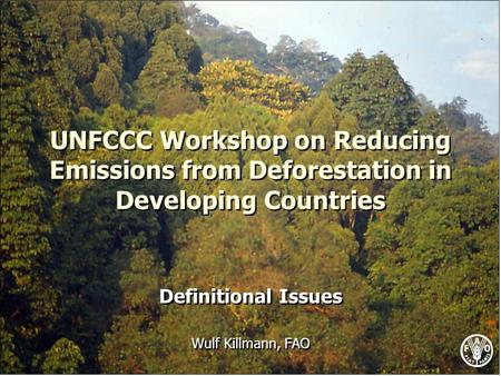 UNFCCC Workshop on Reducing Emissions from Deforestation in Developing Countries Definitional Issues Wulf Killmann, FAO Definitional Issues Wulf Killmann,