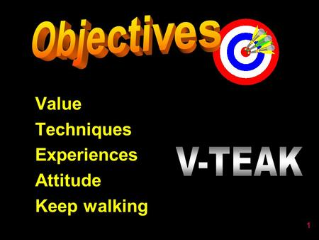 1 Value Techniques Experiences Attitude Keep walking.