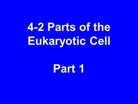 4-2 Parts of the Eukaryotic Cell Part 1. Cell Biology or Cytology Cyto = cell ology = study Uses observations from several types of microscopes to create.