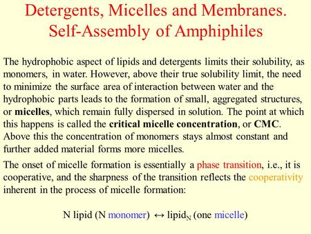 Detergents, Micelles and Membranes. Self-Assembly of Amphiphiles The hydrophobic aspect of lipids and detergents limits their solubility, as monomers,