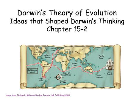 Darwin's Theory of Evolution Ideas that Shaped Darwin's Thinking Chapter 15-2 Image from: Biology by Miller and Levine; Prentice Hall Publishing©2006.