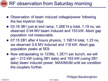RF observation from Saturday morning Observation of beam induced voltage/power following the two klystron trips: 03:18 3B1 just at end ramp, 1.26E14 p.