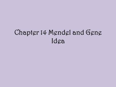 Chapter 14 Mendel and Gene Idea. Particulate Hypothesis Idea that parents pass on discrete heritable units or genes that retain their separate identities.