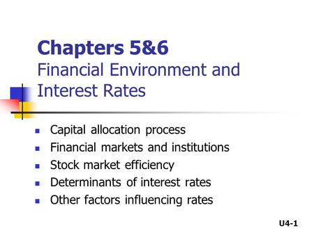U4-1 Chapters 5&6 Financial Environment and Interest Rates Capital allocation process Financial markets and institutions Stock market efficiency Determinants.