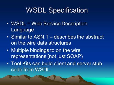 WSDL Specification WSDL = Web Service Description Language Similar to ASN.1 – describes the abstract on the wire data structures Multiple bindings to on.