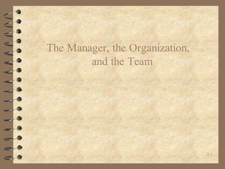 2-1 The Manager, the Organization, and the Team. 2-2 THE PM'S ROLES.