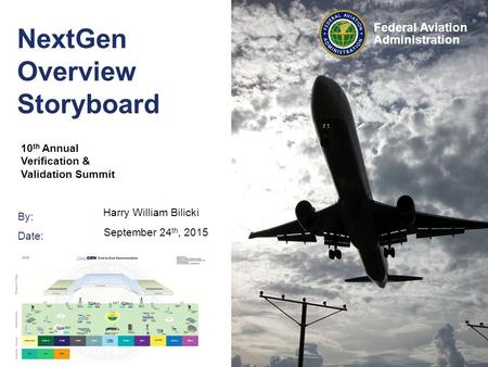 By: Date: Federal Aviation Administration NextGen Overview Storyboard 10 th Annual Verification & Validation Summit Harry William Bilicki September 24.