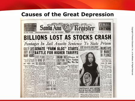 TEKS 8C: Calculate percent composition and empirical and molecular formulas. Causes of the Great Depression.