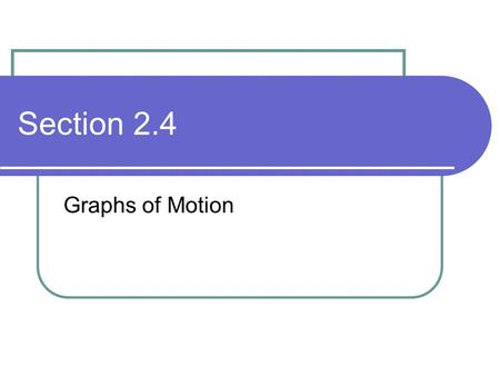Section 2.4 Graphs of Motion. Why Use Graphs? Show relationships between distance, velocity, acceleration, and time Visual and clear way of representing.