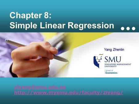 Chapter 8: Simple Linear Regression  Yang Zhenlin.
