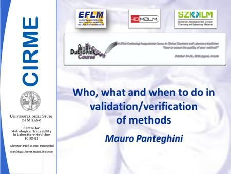 Mauro Panteghini Who, what and when to do in validation/verification of methods.