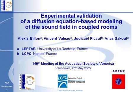 ASA Vancouver 1 Experimental validation of a diffusion equation-based modeling of the sound field in coupled rooms Alexis Billon a, Vincent Valeau a, Judicaël.