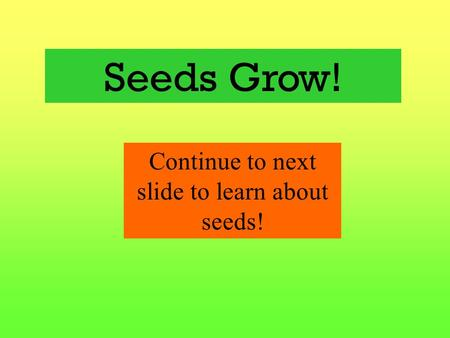 Seeds Grow! Continue to next slide to learn about seeds!