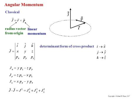 Angular Momentum Classical radius vector from origin linear momentum determinant form of cross product Copyright – Michael D. Fayer, 2007.