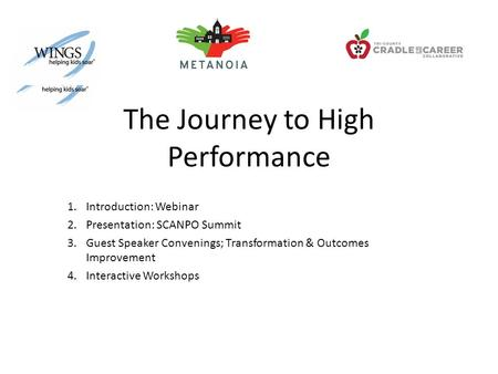 The Journey to High Performance 1.Introduction: Webinar 2.Presentation: SCANPO Summit 3.Guest Speaker Convenings; Transformation & Outcomes Improvement.