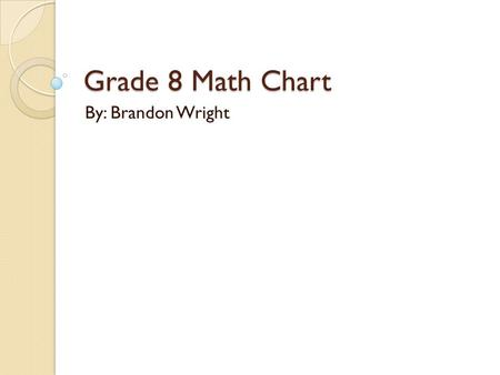 Grade 8 Math Chart By: Brandon Wright. Perimeter The distance around a 2 dimensional shape Square P= 4s Rectangle P= 2l+2w or P= 2 (l + w)