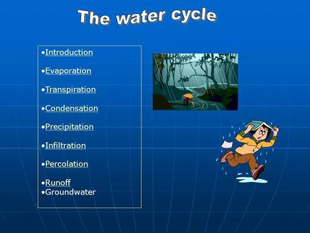 Introduction Evaporation Transpiration Condensation Precipitation Infiltration Percolation Runoff Groundwater.
