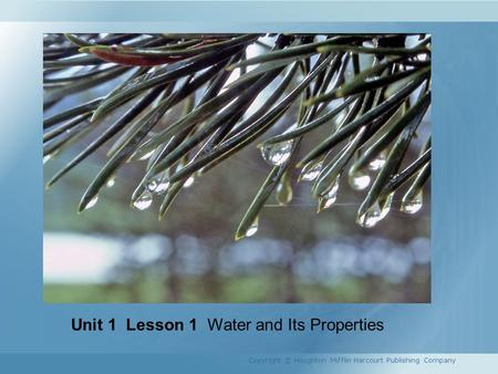Unit 1 Lesson 1 Water and Its Properties Copyright © Houghton Mifflin Harcourt Publishing Company.