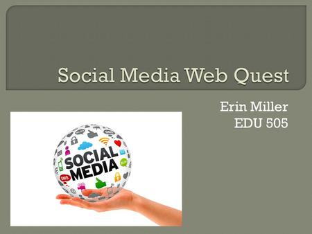 Erin Miller EDU 505.  The world we live in is changing quickly due to the rapid increase of social media. People are using it more and more in their.
