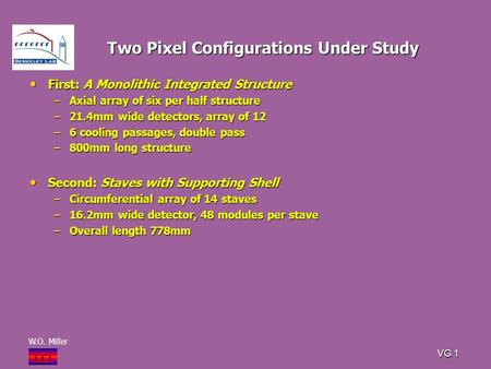 W.O. Miller i T i VG 1 Two Pixel Configurations Under Study First: A Monolithic Integrated Structure First: A Monolithic Integrated Structure –Axial array.