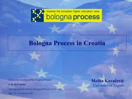 Bologna Process in Croatia Melita Kovačević University of Zagreb Consortia Meeting of the Tempus Project UM-JEP 18094 Moving Ahead with the Bologna Process.