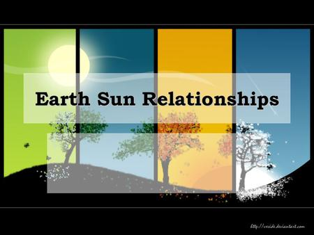 Earth Sun Relationships. Earth-Sun Relationships Weather conditions and climate are impacted by the annual changes in Earth-Sun relationships. Weather.