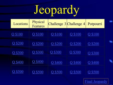 Jeopardy Locations Challenge 3Challenge 4Potpourri Q $100 Q $200 Q $300 Q $400 Q $500 Q $100 Q $200 Q $300 Q $400 Q $500 Final Jeopardy Physical Features.