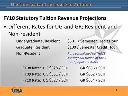 FY10 Statutory Tuition Revenue Projections Different Rates for UG and GR; Resident and Non-resident Undergraduate, Resident $50 / Semester Credit Hour.