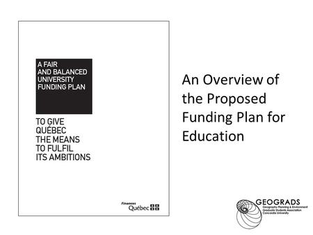An Overview of the Proposed Funding Plan for Education.