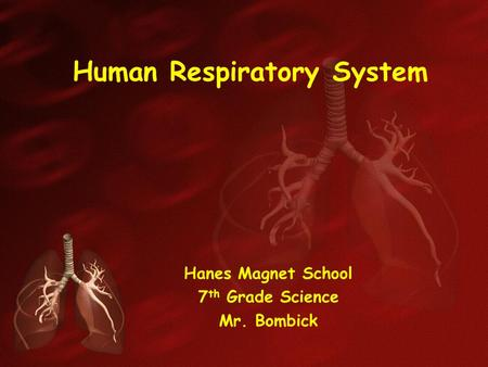Human Respiratory System Hanes Magnet School 7 th Grade Science Mr. Bombick.