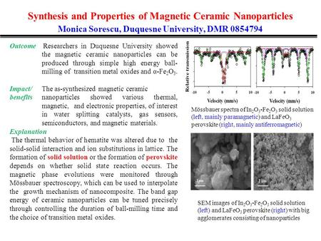 Synthesis and Properties of Magnetic Ceramic Nanoparticles Monica Sorescu, Duquesne University, DMR 0854794 Outcome Researchers in Duquesne University.