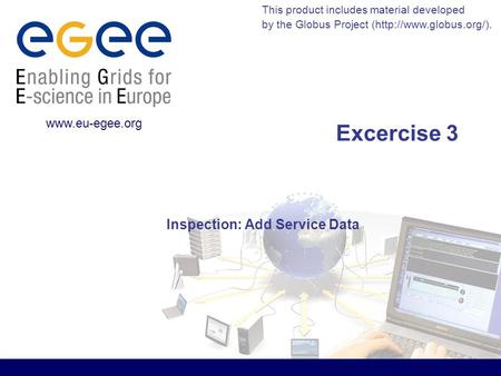 This product includes material developed by the Globus Project (http://www.globus.org/).  Excercise 3 Inspection: Add Service Data.