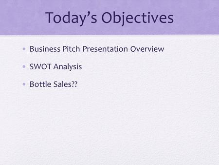 Today's Objectives Business Pitch Presentation Overview SWOT Analysis