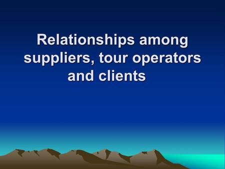 Relationships among suppliers, tour operators and clients.