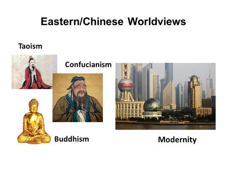 Eastern/Chinese Worldviews Taoism Confucianism Buddhism Modernity.