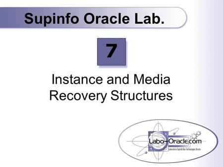 Instance and Media Recovery Structures Supinfo Oracle Lab. 7.