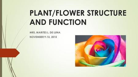 PLANT/FLOWER STRUCTURE AND FUNCTION MRS. MARITES L. DE LUNA NOVEMBER 9-13, 2015.