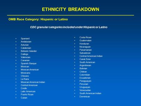 ETHNICITY BREAKDOWN Spaniard Andalusian Asturian Catalonian Belearic Islander Gallego Valencian Canarian Spanish Basque Mexican Mexican American Mexicano.