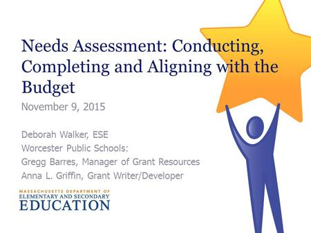 Needs Assessment: Conducting, Completing and Aligning with the Budget November 9, 2015 Deborah Walker, ESE Worcester Public Schools: Gregg Barres, Manager.