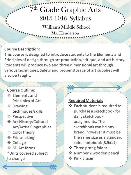 7 th Grade Graphic Arts 2015-1016 Syllabus Williams Middle School Ms. Henderson Course Outline:  Elements and Principles of Art  Drawing techniques/skills.