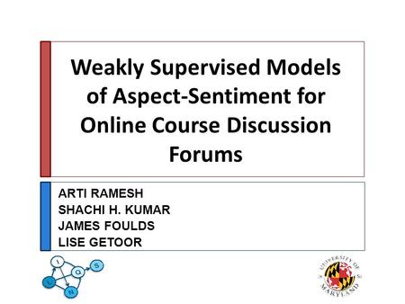 Weakly Supervised Models of Aspect-Sentiment for Online Course Discussion Forums ARTI RAMESH SHACHI H. KUMAR JAMES FOULDS LISE GETOOR.