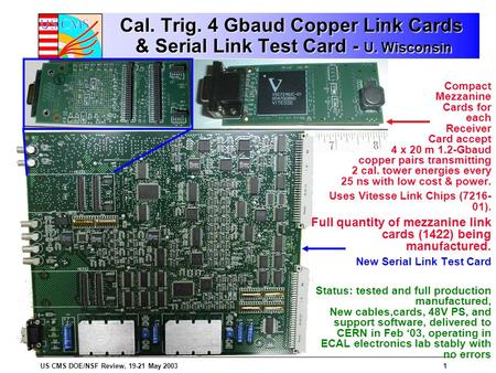 US CMS DOE/NSF Review, 19-21 May 20031 Cal. Trig. 4 Gbaud Copper Link Cards & Serial Link Test Card - U. Wisconsin Compact Mezzanine Cards for each Receiver.