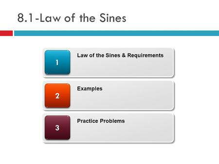 8.1-Law of the Sines 33 22 11 Law of the Sines & Requirements Examples Practice Problems.