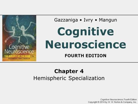 Cognitive Neuroscience, Fourth Edition Copyright © 2014 by W. W. Norton & Company, Inc. Chapter 4 Hemispheric Specialization Gazzaniga Ivry Mangun Cognitive.